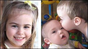 Ashley Atwater, 4, left, and her brothers Isaac, 2, kissing baby Brady, 1, were found dead inside their rural Oak Harbor home, along with the bodies of their mother and father, in an apparent murder-suicide.