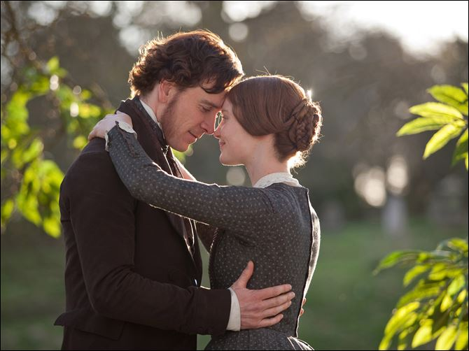 Jane Eyre Michael Fassbender as Rochester, left, and Mia Wasikowska as Jane Eyre star in the romantic drama.
