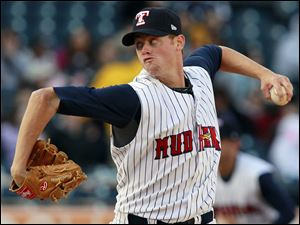 Toledo's Charlie Furbush threw just 77 pitches in seven innings to one-hit Indianapolis yesterday in a 6-0 win during a doubleheader split with the Indians. Indy won the second contest 3-1.