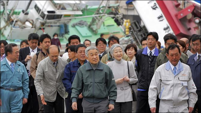Akihito Michiko tour Otsu Japan fishing port Japan's Emperor Akihito, center left, and Empress Michiko, center right, on Friday tour Otsu fishing port in Kitaibaraki, Ibaraki prefecture, northeastern Japan, which was heavily damaged by the March 11 earthquake and tsunami.