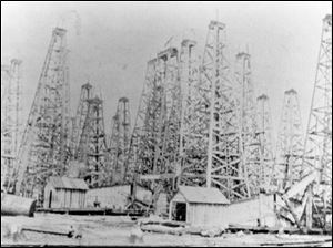Oil derricks once covered this field in North Baltimore, Ohio.
