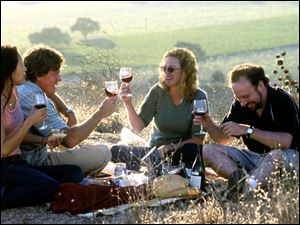 "From left, Sandra Oh, Thomas Haden Church, Virginia Madsen and Paul Giamatti in the 2005 film ""Sideways."""