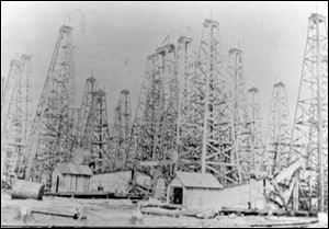 Oil derricks once dotted the landscape in North Baltimore, Ohio. From 1895 to 1903, Ohio was America's top oil-producing state. Pennsylvania produced the nation's first commercial oil well in 1859. The Lima-Indiana oil field that fueled the boom was abandoned as oil became tougher to extract and the vast oil fields of Texas and Oklahoma were found.