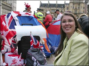 Teresa Cunningham of Butler, Mo., quit her job as a nurse to travel to London. She camped outside Westminster Abbey to be close to the festivities surrounding today's marriage of Prince William and Kate Middleton.
