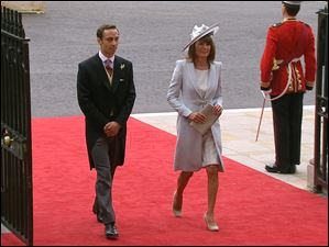Carole Middleton, Kate Middleton's mother, right, and James Middleton, Kate Middleton's brother, arrive at Westminster Abbey for the royal wedding in London, in this image taken from video.