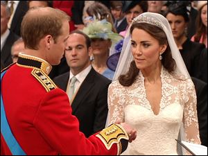 Kate Middleton recites her vows to Prince William.