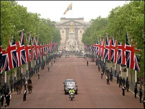 The car containing Britain's Prince William and Prince Harry drives down the Mall on its way to Westminster Abbey for the royal wedding, in this image taken from video.
