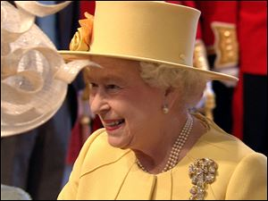 Britain's Queen Elizabeth II arrives at Westminster Abbey for the royal wedding, in this image taken from video.