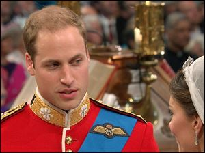 Britain's Prince William recites his vows to his bride, Kate Middleton, as they stand at the altar at Westminster Abbey.