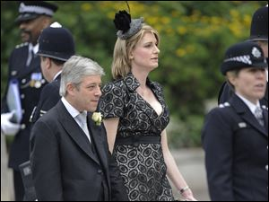 British House of Common's speaker John Bercow and wife Sally arrive at Westminster Abbey for the royal wedding of Britain's Prince William and Kate Middleton.