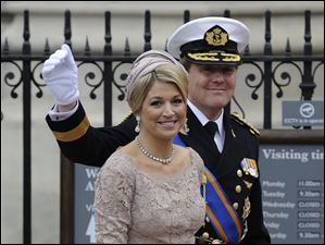 Netherlands' Crown Prince Willem-Alexander and Netherland's Princess Maxima arrive at Westminster Abbey.