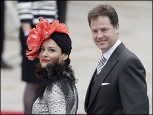 Britain's Deputy Prime Minister Nick Clegg and his wife Miriam arrive at Westminster Abbey.