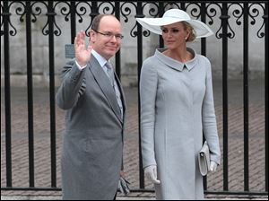Prince Albert of Monaco and  his fiancee, Charlene Wittstock, arrive at Westminster Abbey.