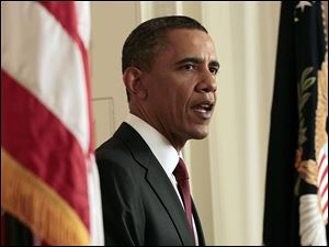 President Barack Obama announces the death of Osama bin Laden from the East Room of the White House in Washington, Sunday.