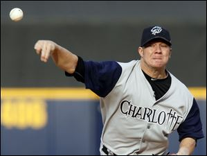 Charlotte's Jake Peavy pitches against Toledo.