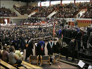 The BGSU class of 2011 graduates inside Anderson Arena at  at Bowling Green State University.
