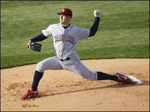 Lehigh Valley's Ryan Feierabend pitches against the Toledo Mud Hens..