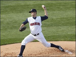 The Mud Hens' Andy Oliver pitches the ball.