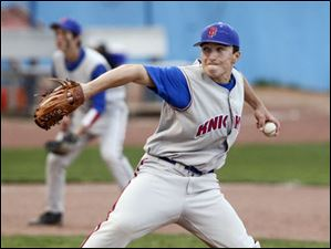 St. Francis' Matt Zmuda fires in a pitch against Start.