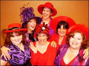 Cast members for the production of 'Hats! The Musical ' at the Sandusky State Theatre include, front row from left: Gidget Propst as Baroness, Deb Swartz as Mary Anne, and Arlene Eishen Strohl as Contessa (and the play's music director). Middle: Marje Rody, choreographer, and Lorrain Lash as Dame. Back: Mary Schiwitz, who plays Princess.