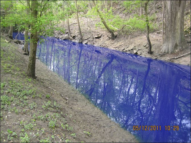 Swan Creek Blue Ink Blue dye from Pro Pac Industries in Maumee flows through Swan Creek through in Swan Creek Metropark.
