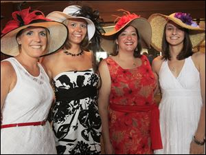 Enjoying the Sylvania Country Club's Derby Day party are, from left: Allison Clements, Amanda Dietrich, Nicole Worth, and Joelle Olzak.
