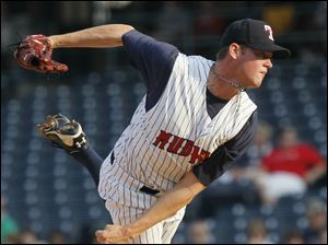 Toledo's Charlie Furbush fires in a pitch against Lehigh Valley during the first inning.