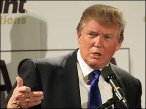 Donald Trump speaks during a May 11 luncheon with the Greater Nashua Chamber of Commerce in Nashua, N.H.