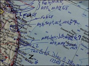 A map from Donald Wood's war memorabilia outlines his movements in Vietnam in the late 1960s, including the several months he served as an officer in Tiger Force.