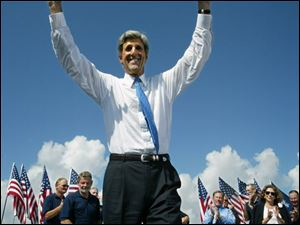 With some of his Vietnam era shipmates on hand, Massachusetts Sen. John Kerry formally entered the race for the presidency in Mount Pleasant, S.C., on Sept. 2, 2003.