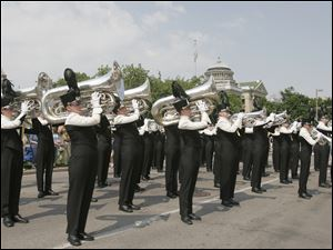 The Toledo Glassmen Drum & Bugle Corps, here shown performing in the 2009 Memorial Day parade, is seeking votes on Facebook.