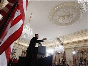 President Barack Obama delivers his Middle East speech Thursday at the State Department in Washington.