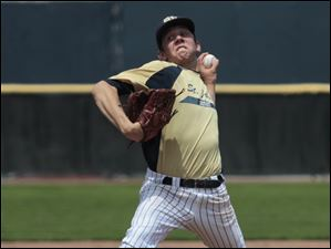 St. John's pitcher Jesse Adams during district final against Whitmer at Ned Skeldon Stadium.