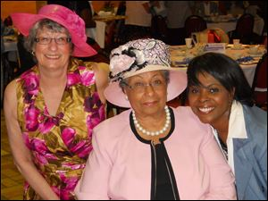 Toledo councilwoman Wilma D. Brown, center, enjoys the Spring Blessings Tea and Fashion Show presented by Women Blessing Women with event co-chairmen Linda Miller, left, and Felicia Clark.