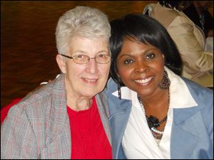 Sr. Nancy Mathias, OSU, and Felicia Clark at the Women Blessing Women fashion show.