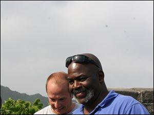 Toledo Mayor Mike Bell, right, and Craig Janusek of Pittsburgh, on top of the Great Wall of China.