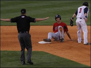 Pawtucket's Brent Dlugach is safe at second.