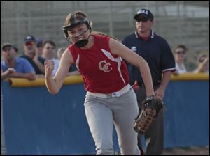 Central Catholic's third baseman Sydney Delp reacts after catching a Notre Dame line drive.