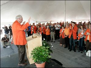 Kerm Stroh addresses the crowd at the groundbreaking for the Stroh Center at Bowling Green State University in September, 2009.