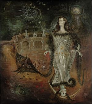 """La maja del tarot"" by Leonora Carrington, a 1965 oil on canvas painting measuring 79 x 70 1/2 inches."