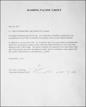 Dashing Pacific Group submitted this letter to Toledo Mayor Mike Bell and city council to be considered as a buyer of the Marina District parcel.