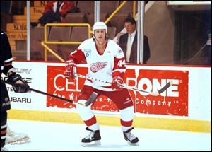 Barry Potomski, seen in this 1999 photo playing for the  Adirondack Red Wings, died Tuesday. He was 38 years old.