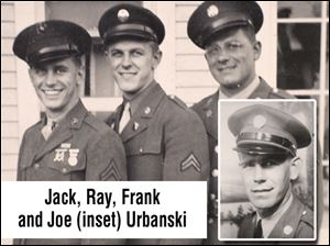 The Urbanski brothers, from left, Jack, Ray, Frank and Joe (inset), served for a total of 32 years, notes Joe's widow, Rachel Urbanski. The last of the brothers died in April.