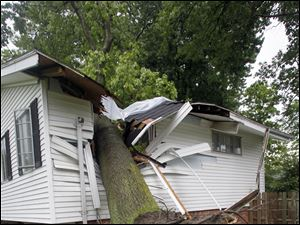 The thunderstorm caused a tree to fall through Mike Bunge's house.