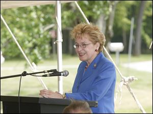 Rep. Marcy Kaptur speaks during the unveiling of the marker honoring Alexander Drabik.