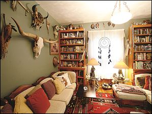 A room decorated with Native American artifacts in the home of David Youngman and Kathy Crawford.