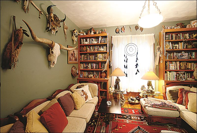 room decorated with native american artifacts in the home of david