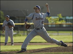 Northwood pitcher Cameron Juhasz pitches against Toledo Christian. He struck out 13 batters and tossed a no-hitter, but the Rangers fell to the Eagles 4-1 in the TAAC championship game. The teams will share the title.
