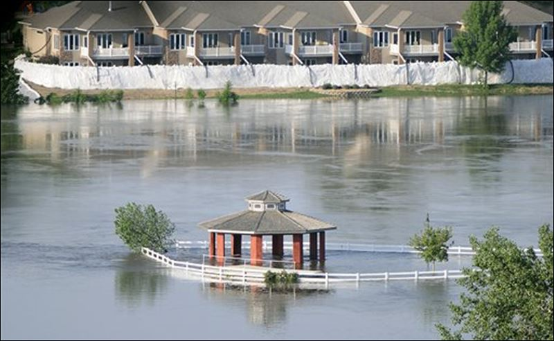 An outdoor pavilion along the missouri river at bev s on the river in