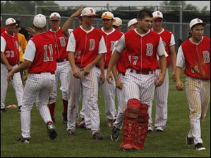 Bedford approaches Allen Park to shake hands after Bedford won the regional semifinal.
